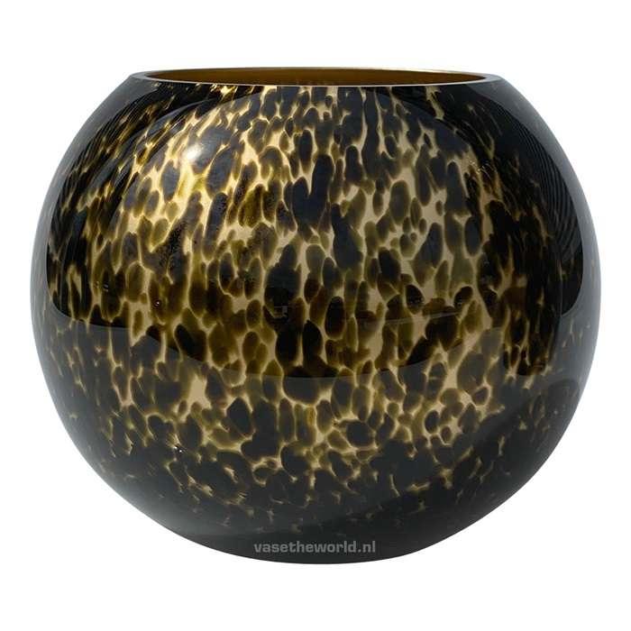ronde panter vaas goud
