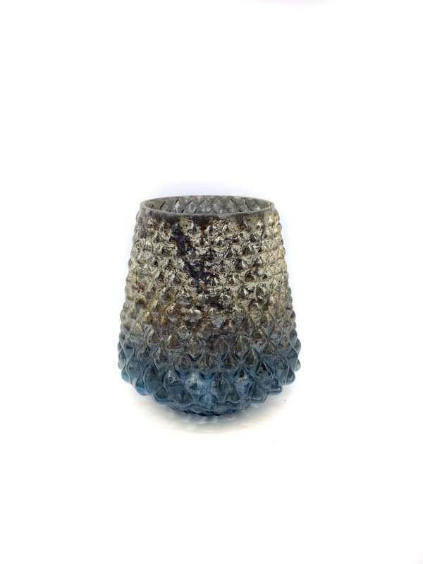 blauw grijs waxinlichthouder