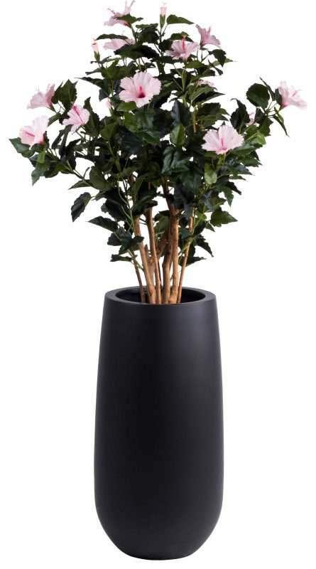 living zwarte bloempot met plant